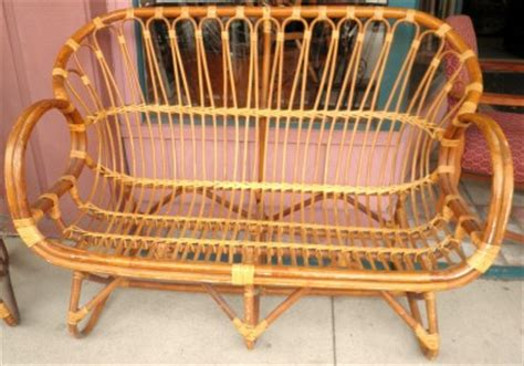 vintage rattan bamboo settee lounge chair table outdoor