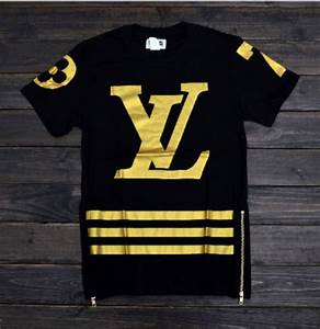 Lv #7 Zipper Shirt Gold/Black · Thug Fashion · Online ...