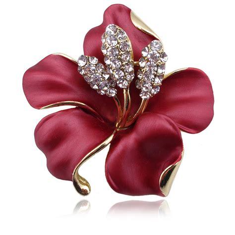 hot enamel brooch crystal lily flower brooches