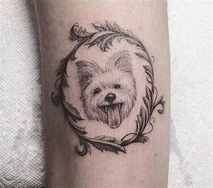 cute dog tattoo in a round frame | Tiny Tattoos ...