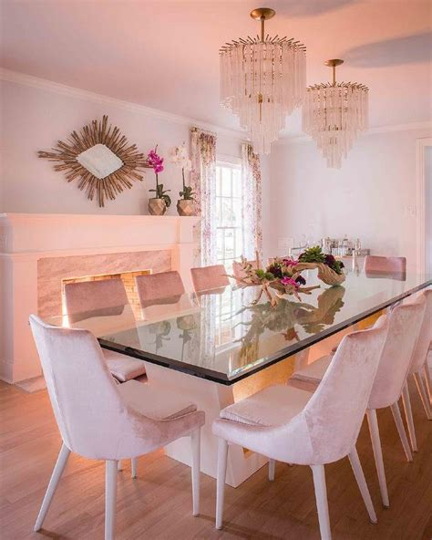 pink velvet dining chairs  glass top table hollywood regency dining room