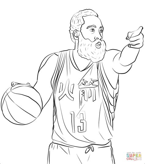 james harden coloring page  printable coloring pages
