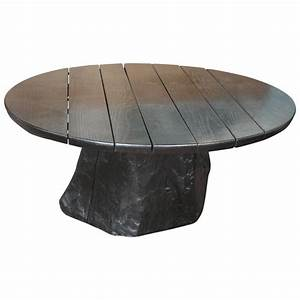 round ebonized oak coffee table with live edge tree trunk With round tree trunk coffee table