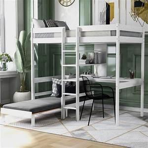 Harper, U0026, Bright, Designs, Convertible, White, Twin, Loft, Bed, With, L
