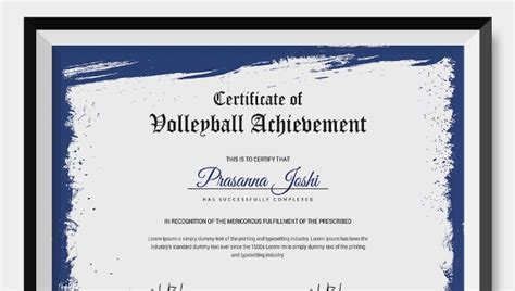 volleyball certificate  word  documents