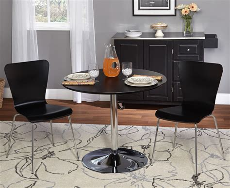 Ikea L Shaped Desk Black by 3 Piece Dining Set For Small Spaces Features Black Chairs