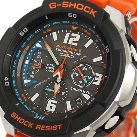 casio g shock aviator orange band solar power gw 3000m 4a watchain