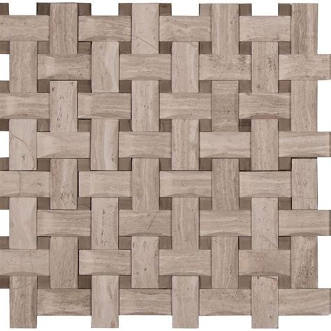 MS International White Oak Arched Basketweave 12 in. x 12