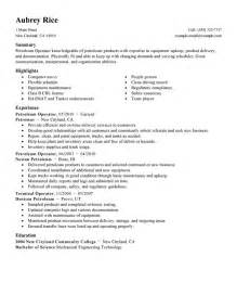 chemical process operator resume exle best petroleum operator resume exle livecareer