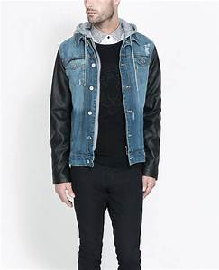 Zara Denim Jacket with Faux Leather Sleeves in Blue for ...