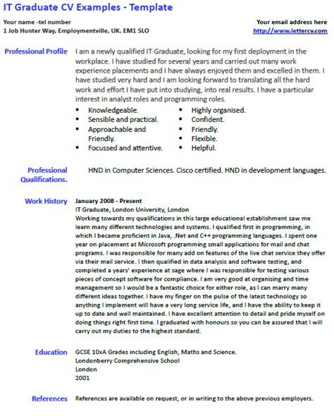It Cv by It Graduate Cv Exle And Template Lettercv