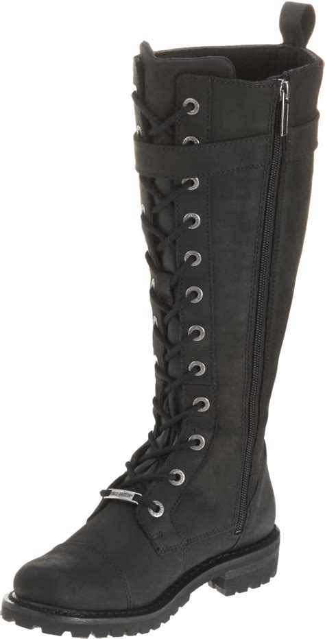 womens black leather moto boots harley davidson women 39 s savannah black leather 14 inch
