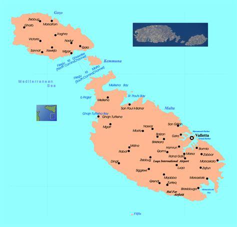 detailed map  malta  gozo  roads  cities