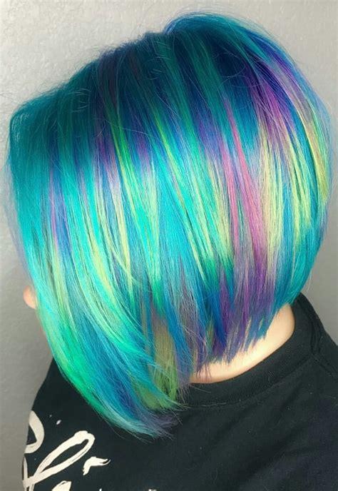Dyed Hair Hair Styles Short Rainbow Hair Cool Hair Color