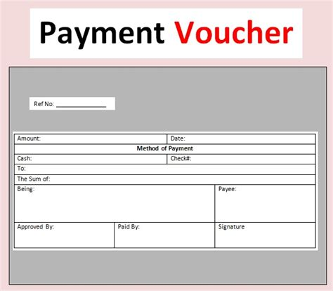 sample payment voucher template excel  word