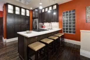 kitchen and floor decor magnificent orange kitchen design ideas with brown kitchen cabinet and laminate wooden