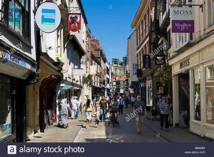 Shops on historic Stonegate in the City Centre, York ...