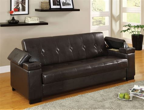 futon sofa with storage enrico sofa bed with storage cup holder futons