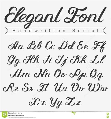 schriftarten design handwritten calligraphy script font design stock illustration image 71644701