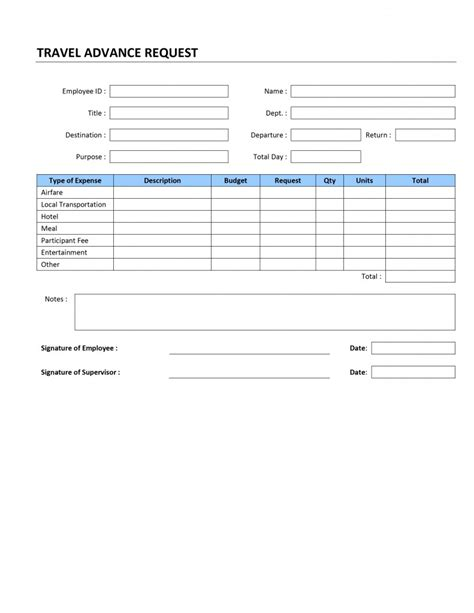 travel advance request template