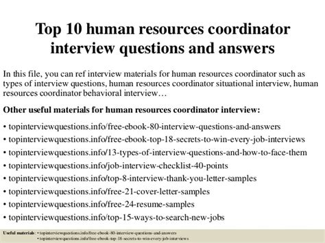Questions And Answers For Hr Assistant Position by Top 10 Human Resources Coordinator Questions And