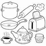 Coloring Cooking Pages Utensils Surfnetkids Cocina Tools Sheets Colorear Para Articulos Guardado Desde sketch template