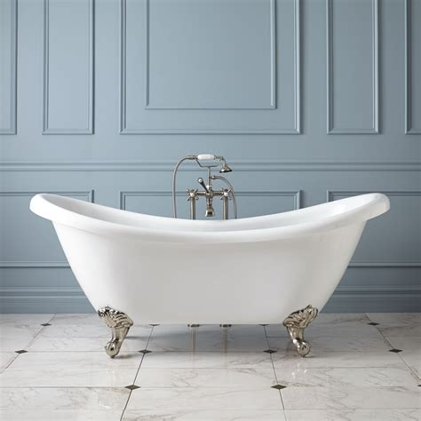 "69"" Candace Acrylic Clawfoot Tub  Imperial Feet Bathroom"