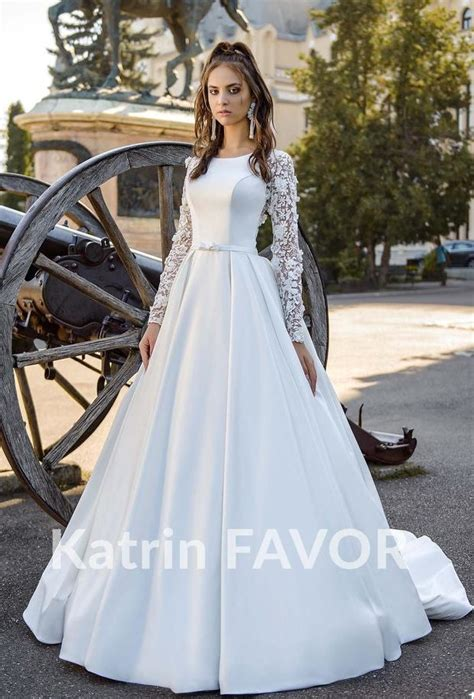 Fleur White Taffeta Modest Wedding Dress with Beaded Lace