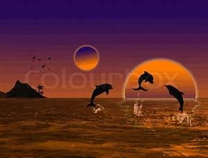 Schöne Delfin Bilder : sch ne landschaft bei sonnenuntergang mit delfinen und insel vektorgrafik colourbox ~ Frokenaadalensverden.com Haus und Dekorationen