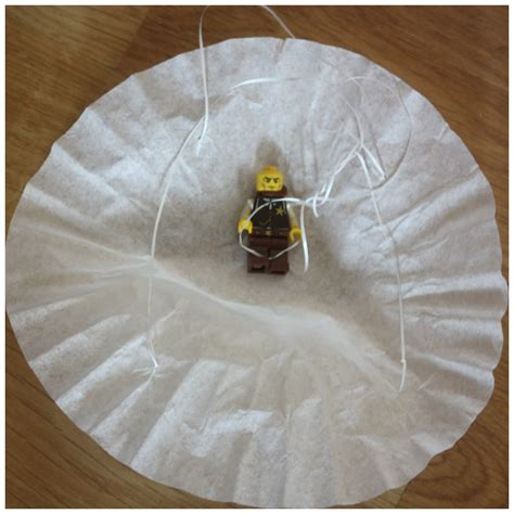 coffee filter parachute lego minifigure parachute activity