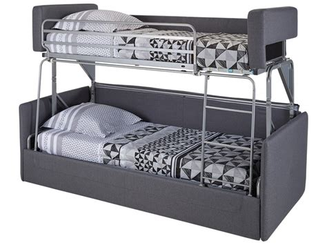 canap lit superpos canapé 3 places convertible superposé en tissu gris chana