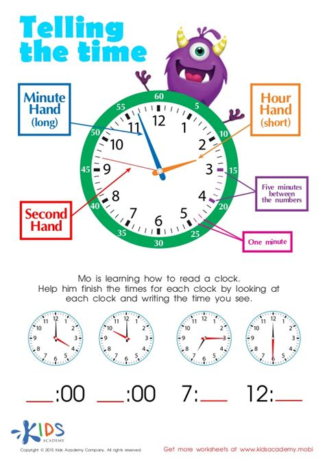 learn to tell time printable worksheets for