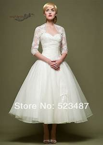 new vintage style custom 3 4 sleeve tea length wedding With 3 4 length sleeve wedding dress