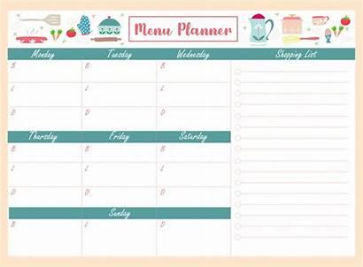 Menu Blank Planner Printable Weekly Template Templates