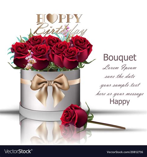 Happy Birthday Roses Images Happy Birthday Roses Bouquet Vintage Vector Image