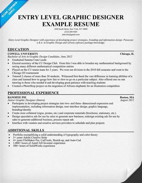 entry level graphic design entry level graphic designer resume student
