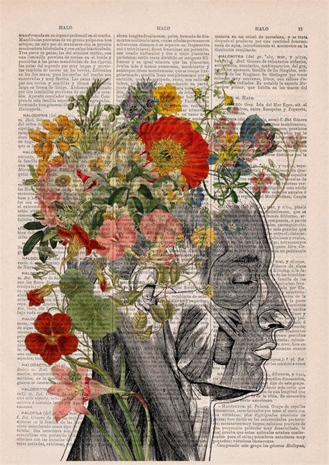 Flowery Hair Collage Printed Dictionary Book Page