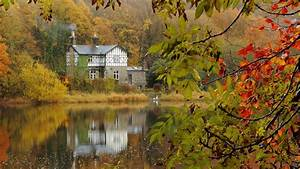 Nature, Landscape, Trees, Leaves, Fall, Branch, Forest, Cottage, House, Water, Lake, Reflection