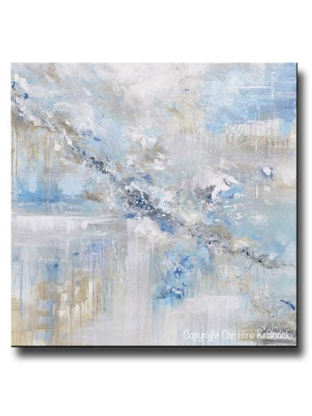 Original Art Blue Abstract Painting White Grey Coastal