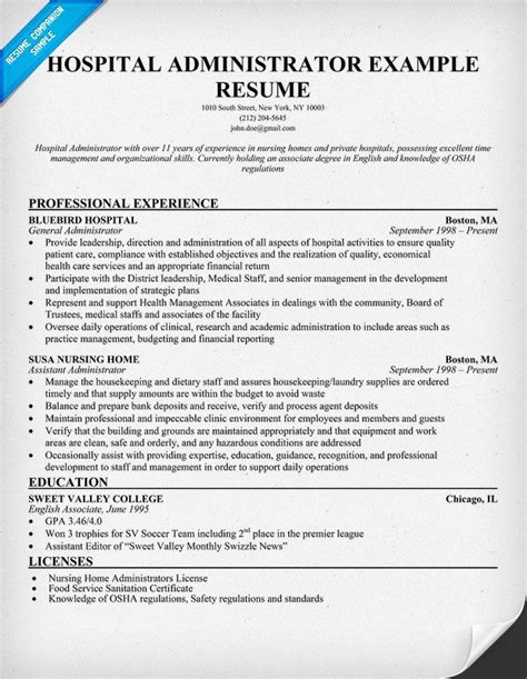 Healthcare Manager Resume by Hospital Administrator Resume Resumecompanion
