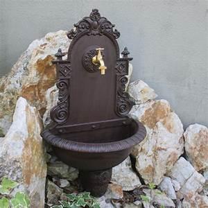 wandbrunnen garten waschbecken braun wandwaschbecken antik With französischer balkon mit waschbecken antik garten