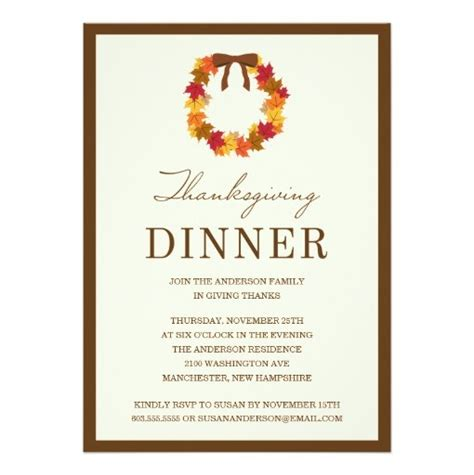 Fall Wreath In Brown Thanksgiving Dinner Invitation Card