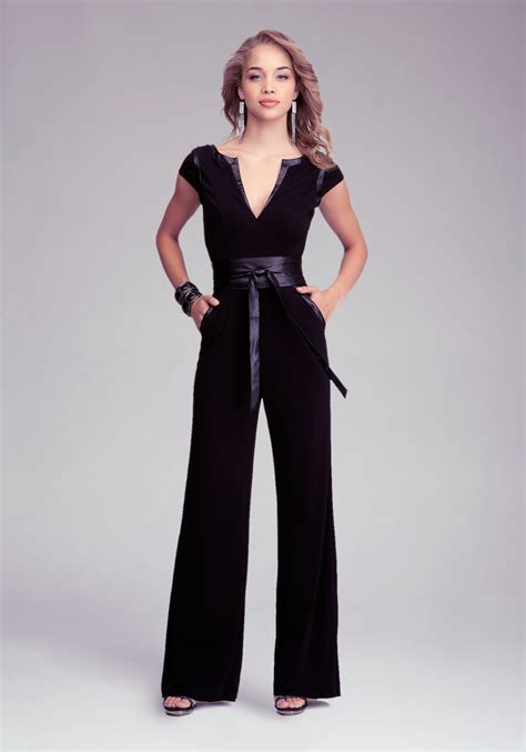 wrap jumpsuit bebe wrap belt jumpsuit in black lyst