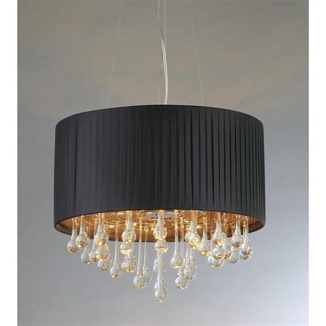 Black Drum Shade Chandelier With Crystals by Black Linen Drum Shade Chandelier