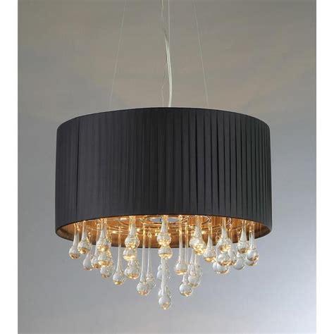 black linen drum shade chandelier