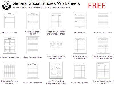 free social studies worksheets variety of general social