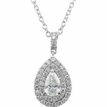 Diamond Necklace Pendant Gold Estate Pear 18k