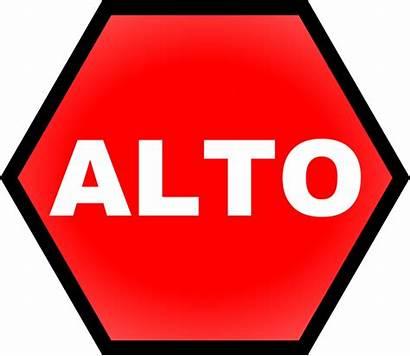 Stop Sign Clip Alto Clipart Vector Spanish