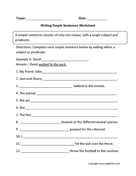 writing simple sentences worksheet bailey
