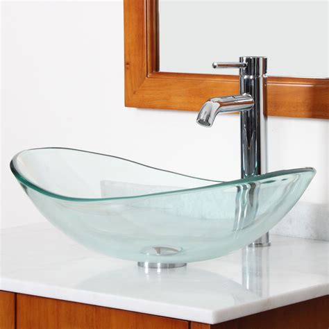 Tempered Glass Bathroom Sink by Elite Tempered Glass Boat Shaped Bowl Vessel Bathroom Sink